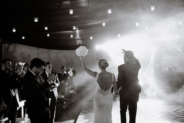 Groom and Bride entering the dance floor at the Santa Lucia farm
