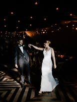 Newly married couple dancing the waltz at their wedding