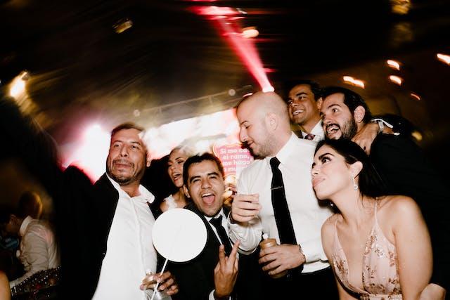 People dancing at the wedding party at Hacienda Santa Lucia