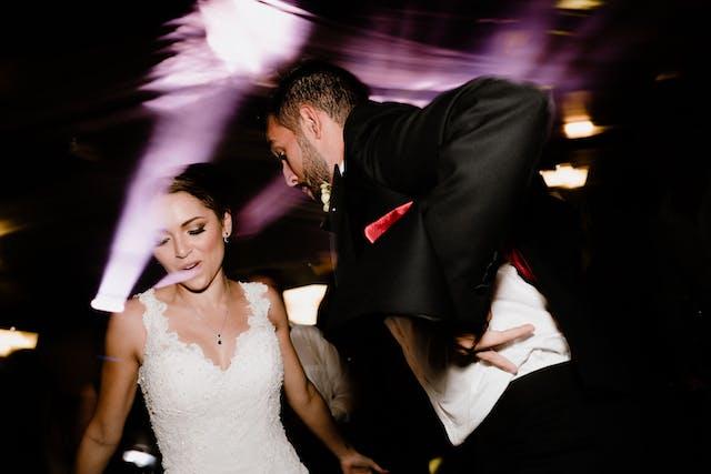 Just married dancing at the wedding party at Hacienda Santa Lucia
