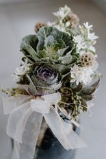 Engagement rings arranged on a flower
